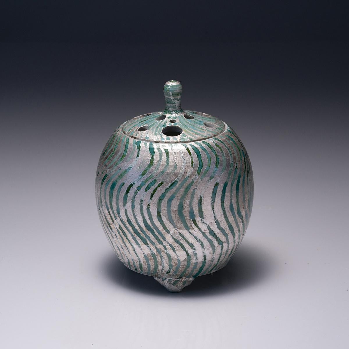 釉面銀彩線紋香炉